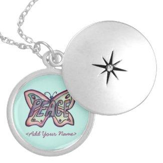 Peace Word Teal Butterfly Custom Name Locket