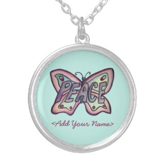 Peace Word Teal Butterfly Custom Name Necklaces