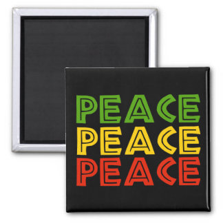 Peace Words 2 Inch Square Magnet