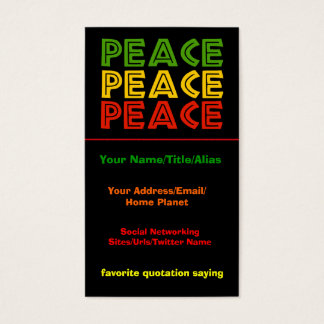 Peace Words Business Card
