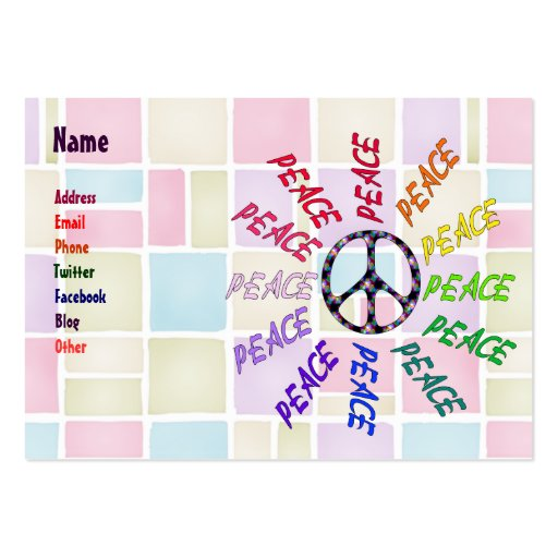 Peace Words Circle Business Cards