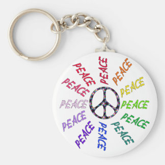 Peace Words Circle Keychain