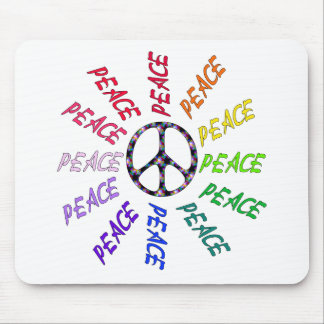 Peace Words Circle Mouse Pad