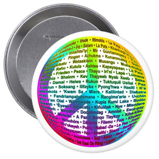 Peace World Language 4 Inch Round Button