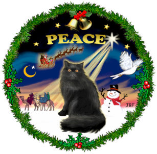 peace wreath black persian cat ceramic ornament