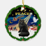 Peace Wreath - Black Persian cat Double-Sided Ceramic Round Christmas Ornament