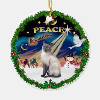Peace Wreath - Blue Point Siamese Ornaments
