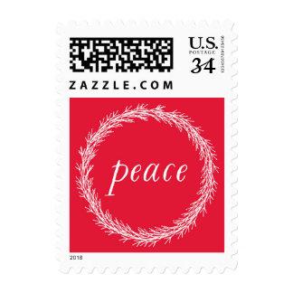 Peace Wreath Christmas Postage Stamp