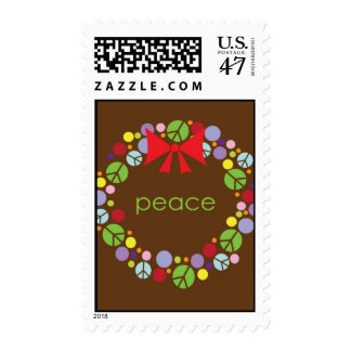 Peace Wreath Holiday Christmas Stamp