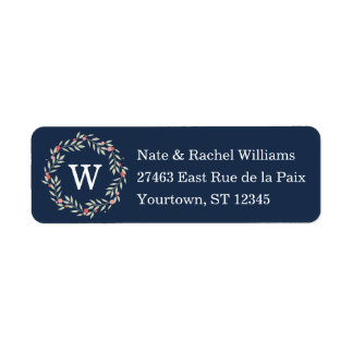 Peace Wreath | Navy Monogram Custom Label