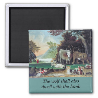 peaceable kingdom by hicks 2 inch square magnet
