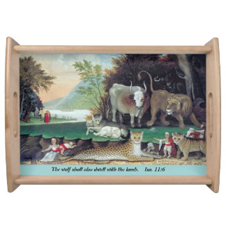 peaceable kingdom by hicks serving tray