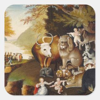 Peaceable Kingdom, c.1834 (oil on canvas) Square Sticker
