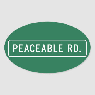 Peaceable Road, Road Sign, Oklahoma, USA Oval Sticker