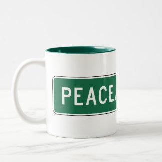 Peaceable Road, Road Sign, Oklahoma, USA Two-Tone Coffee Mug
