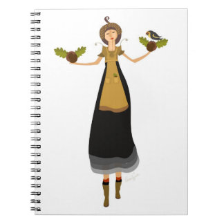 Peaceful Acorn Gathering Spiral Notebook