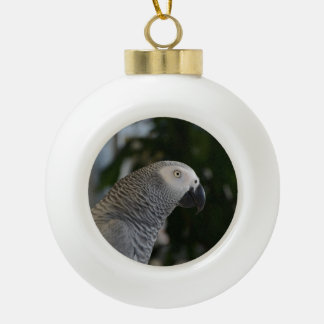 Peaceful African Grey Ceramic Ball Christmas Ornament