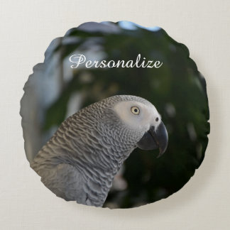 Peaceful African Grey Round Pillow