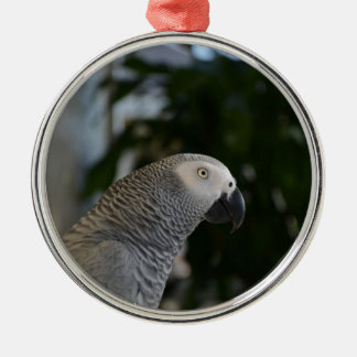 Peaceful African Grey Metal Ornament
