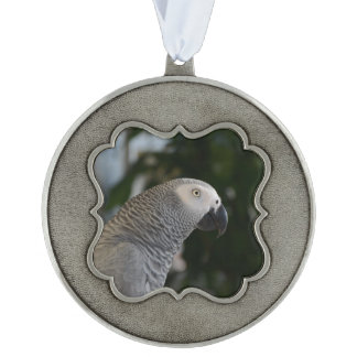 Peaceful African Grey Pewter Ornament