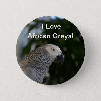 Peaceful African Grey Pinback Button