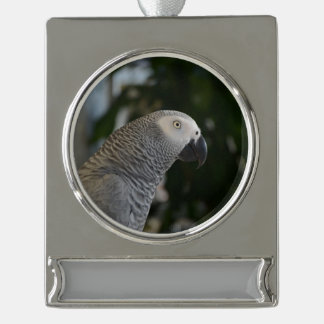 Peaceful African Grey Silver Plated Banner Ornament