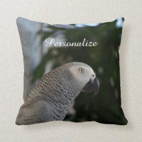 Peaceful African Grey Throw Pillow