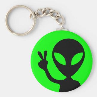 Peaceful Alien Basic Round Button Keychain