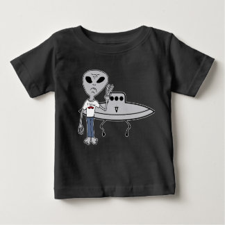 Peaceful Alien Believer and his UFO Baby T-Shirt