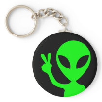 Peaceful Alien Keychain