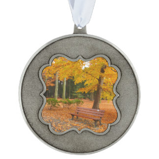 Peaceful and Quiet Autumn in the Park Pewter Ornament