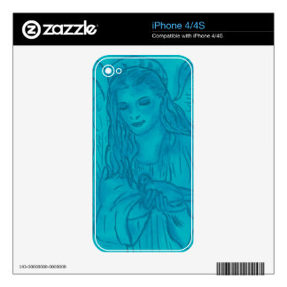 Peaceful Angel In Blue Decal For iPhone 4