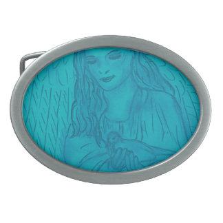 Peaceful Angel In Blue Oval Belt Buckle