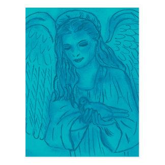 Peaceful Angel In Blue Postcard
