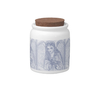 Peaceful Angel in Dusky Blues Candy Dish
