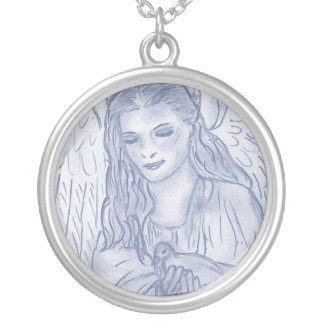Peaceful Angel in Dusky Blues Necklaces