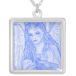 Peaceful Angel in Light Blue Pendant