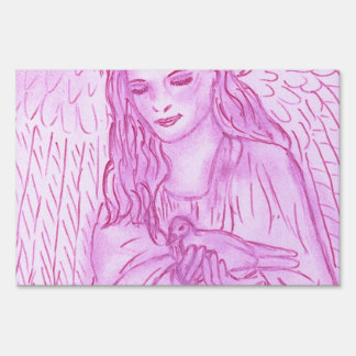 Peaceful Angel in Pink Lawn Sign