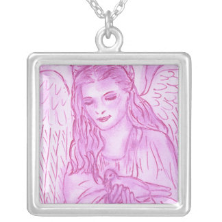 Peaceful Angel in Pink Personalized Necklace