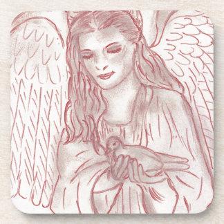 Peaceful Angel in Red Beverage Coaster