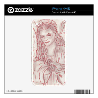 Peaceful Angel in Red iPhone 4 Decal