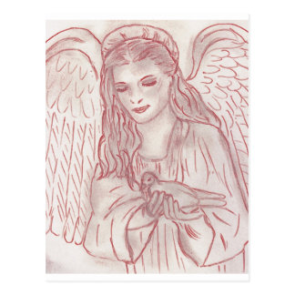 Peaceful Angel in Red Postcard