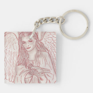 Peaceful Angel in Red Square Acrylic Keychains