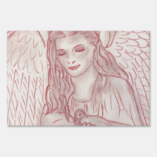Peaceful Angel in Red Tint Sign