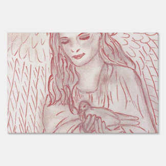 Peaceful Angel in Red Yard Sign