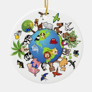Peaceful Animal Kingdom - Animals Around the World Ceramic Ornament