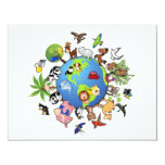 Peaceful Animal Kingdom - Animals Around the World 4.25x5.5 Paper Invitation Card