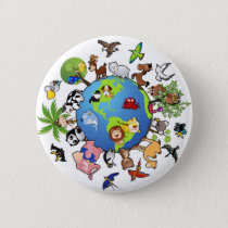 Peaceful Animal Kingdom - Animals Around the World Pinback Button