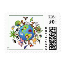 Peaceful Animal Kingdom - Animals Around the World Postage