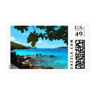 Peaceful Beach St. Thomas Postage Stamps